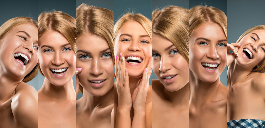 Collage of smiling girl portraits, Young blonde woman smiling fun. Studio shot